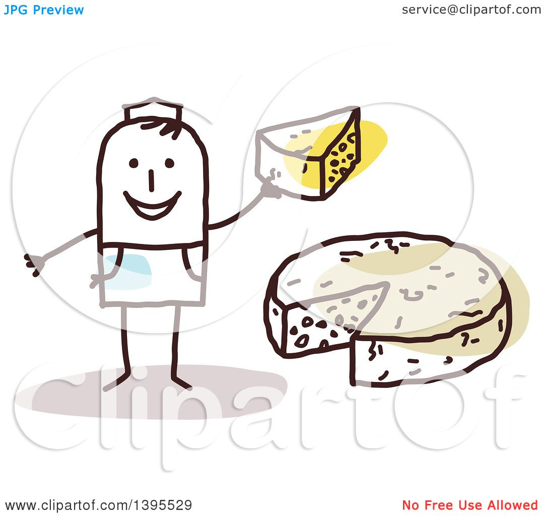 Clipart of a Sketched Stick Man Making and Selling Cheese.