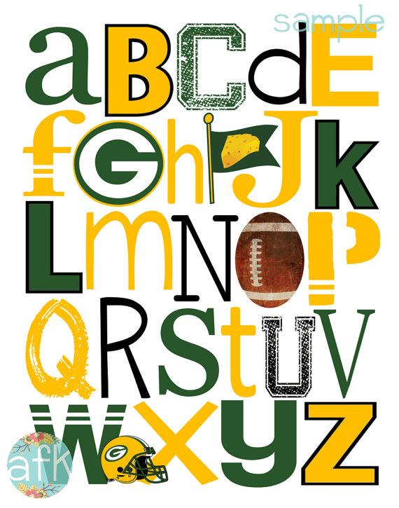 GREEN Bay PACKERS football ABC Nursery Art Print.