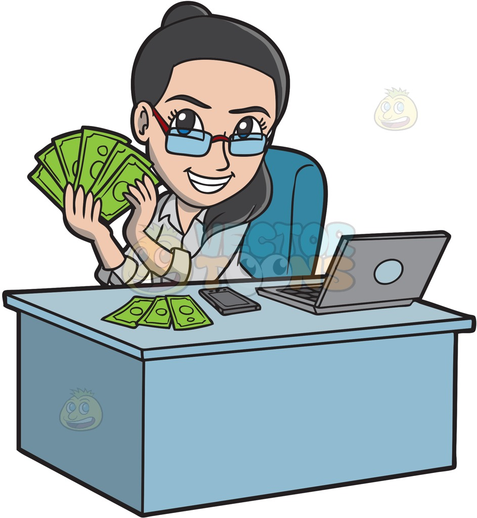 A Happy Woman Making Money Online Cartoon Clipart.