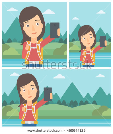 Young Woman Making Selfie On The Background Of Mountains.