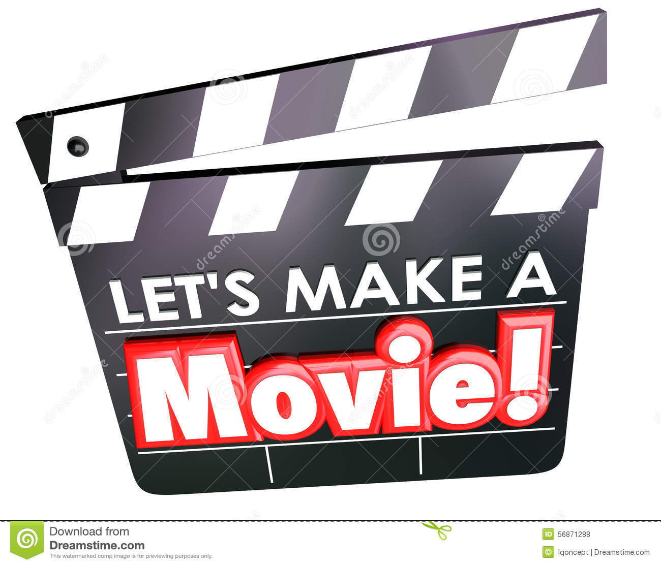 Let's Make A Movie Clapper Board Film Making Message Stock.