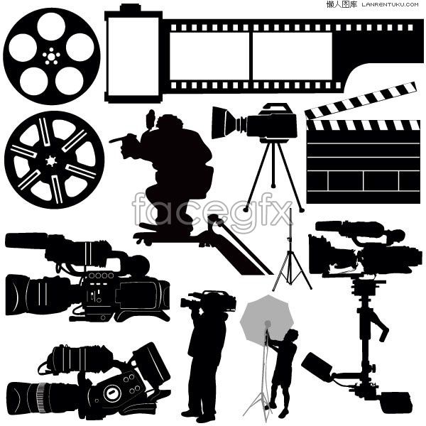 Making movies black and white silhouette vector.