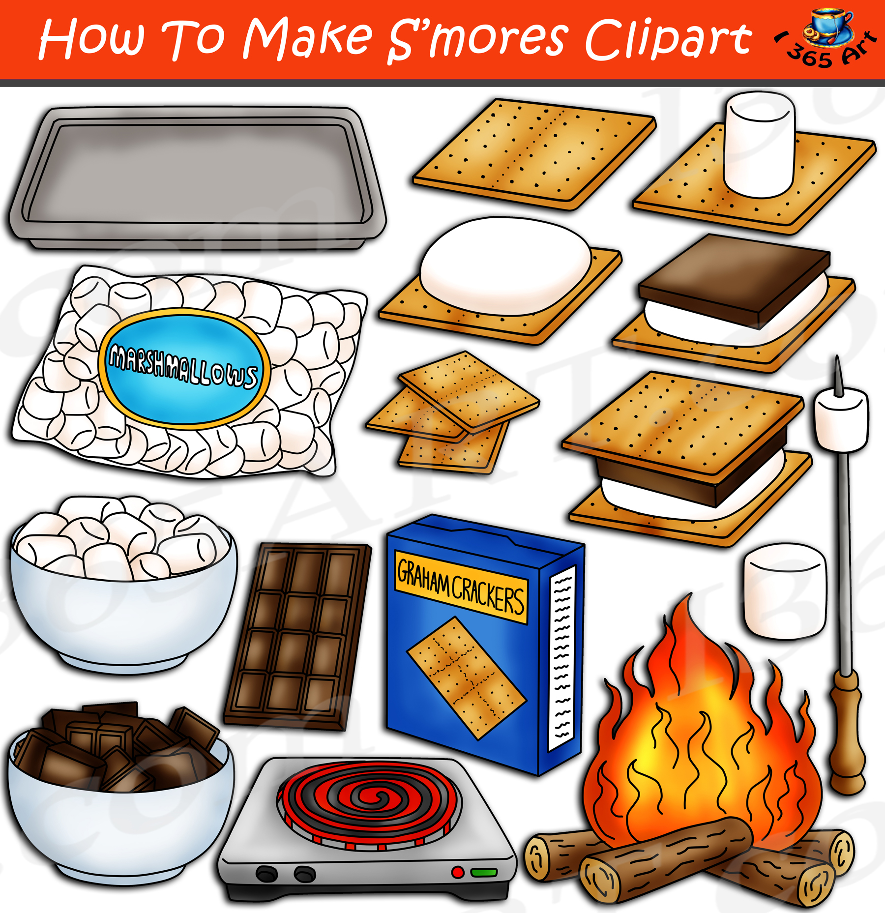 How To Make S'mores Clipart Set Download.
