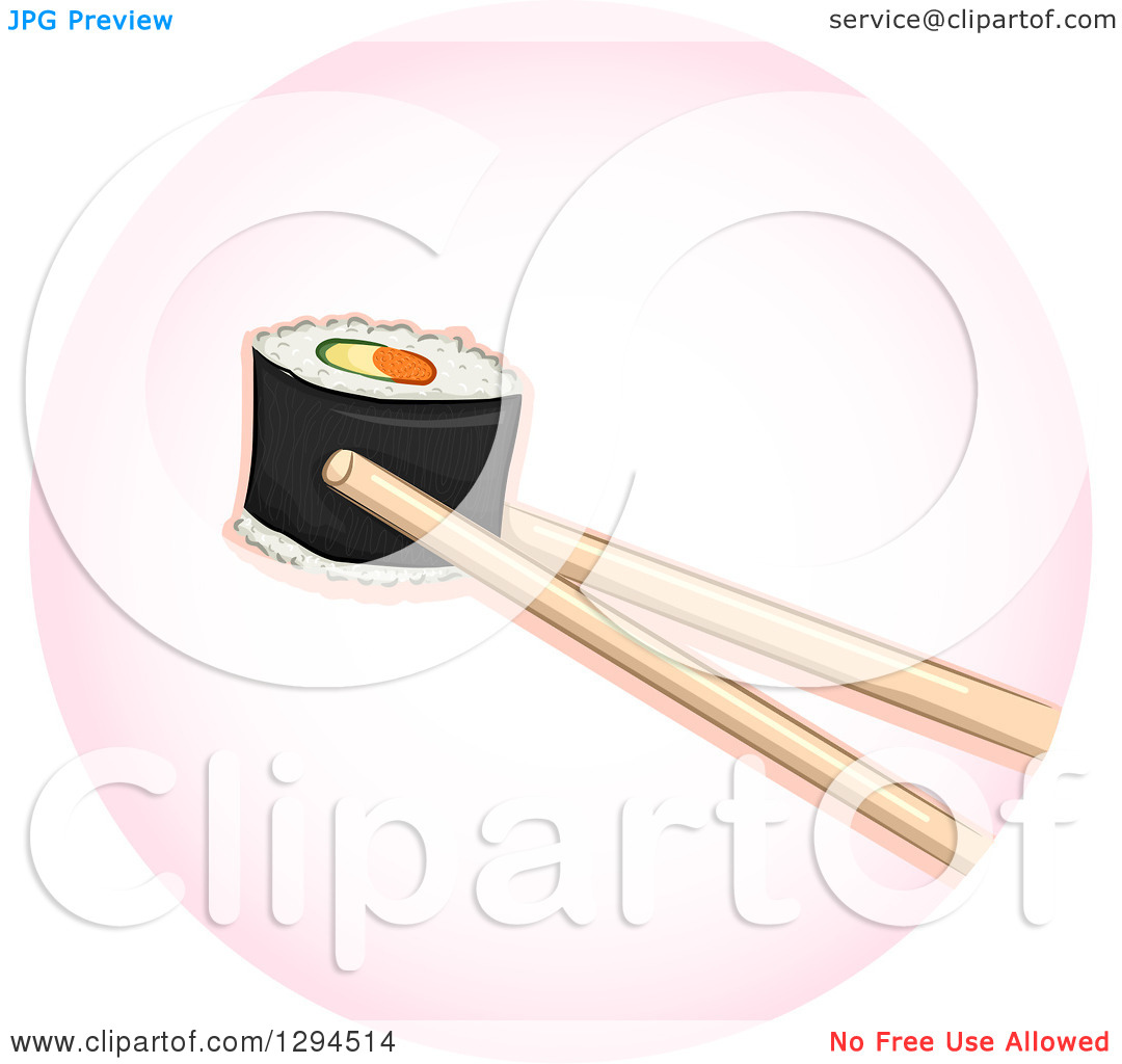 Clipart of Chopsticks Holding a Piece of Sushi Makizushi Roll in a.
