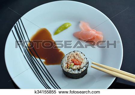 Stock Image of Top view of one Makizushi sushi fresh maki roll.