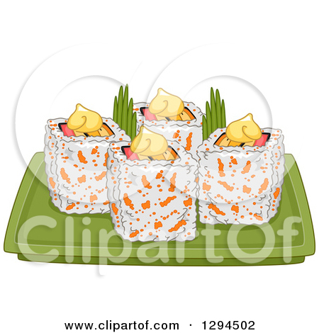 Clipart of a Bento Box Holding up Sushi.