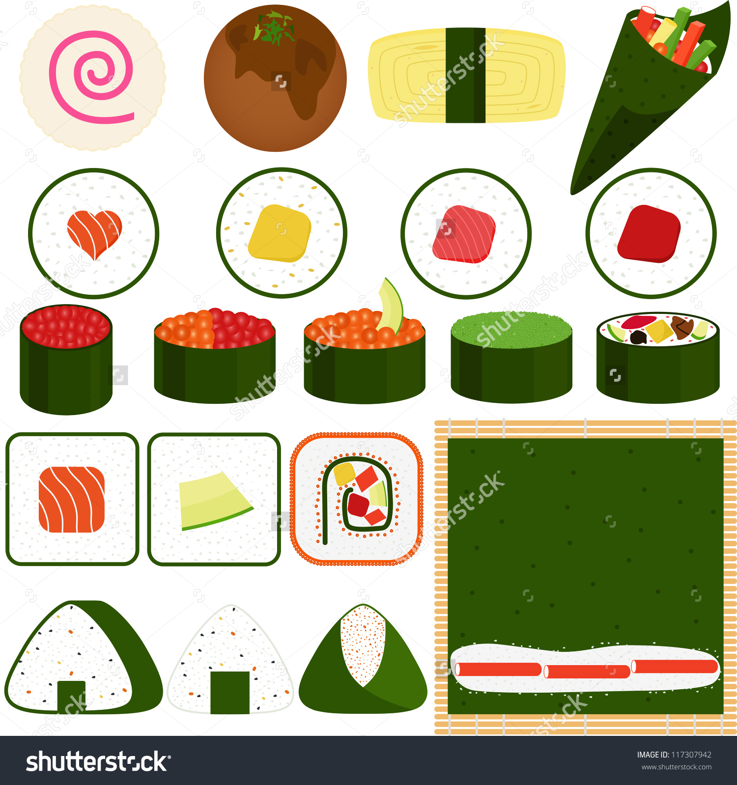 Food Vector Japanese Cuisine Maki Rolled Stock Vector 117307942.