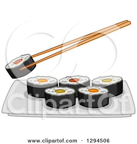 Clipart of Chopsticks Holding a Roll over a Plate of Makizushi.