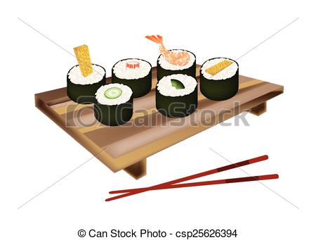 EPS Vectors of Set of Sushi Roll or Makizushi on White.