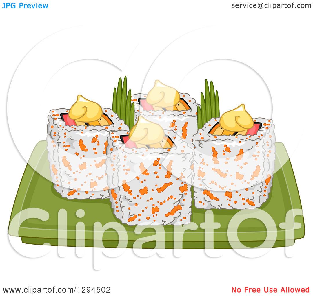 Clipart of a Plate of California Makizushi Sushi Rolls.