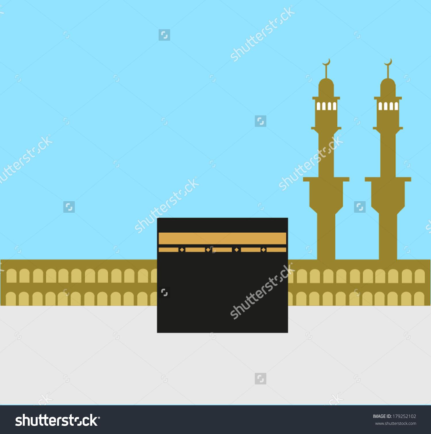 Islamic Holy Kaaba Makkah Eps10 Editable Stock Vector 179252102.