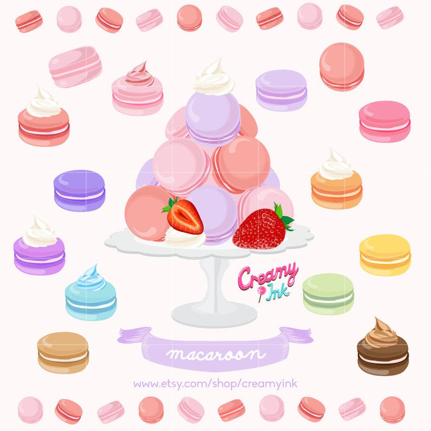 Macaroon Digital Vector Clip art / Macaron Sweets by CreamyInk.