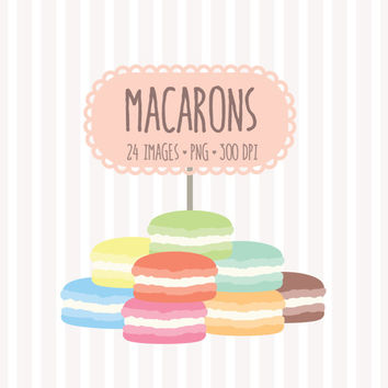 Pastel French Macaron Clip Art Set. 24 from PixelGardenDesign on.