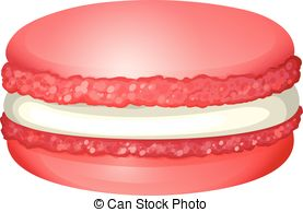 Clipart Vector of Pink macaron with cream illustration csp30201659.