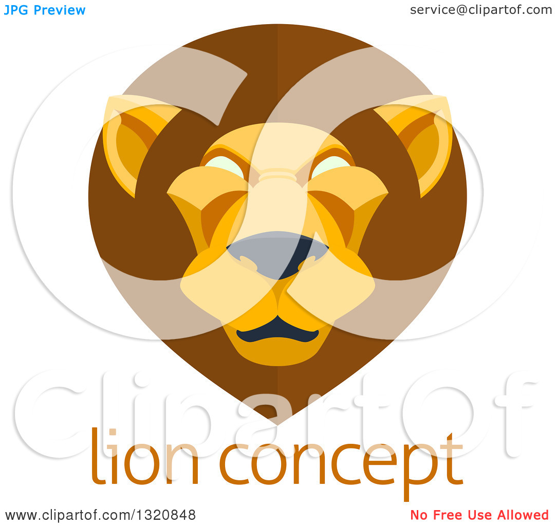 Clipart of a Modern Flat Design Mal Lion Face over Sample Text.