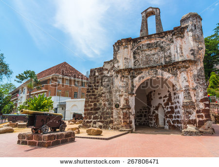 The Porta de Santiago in Malacca. It all that remains of the.