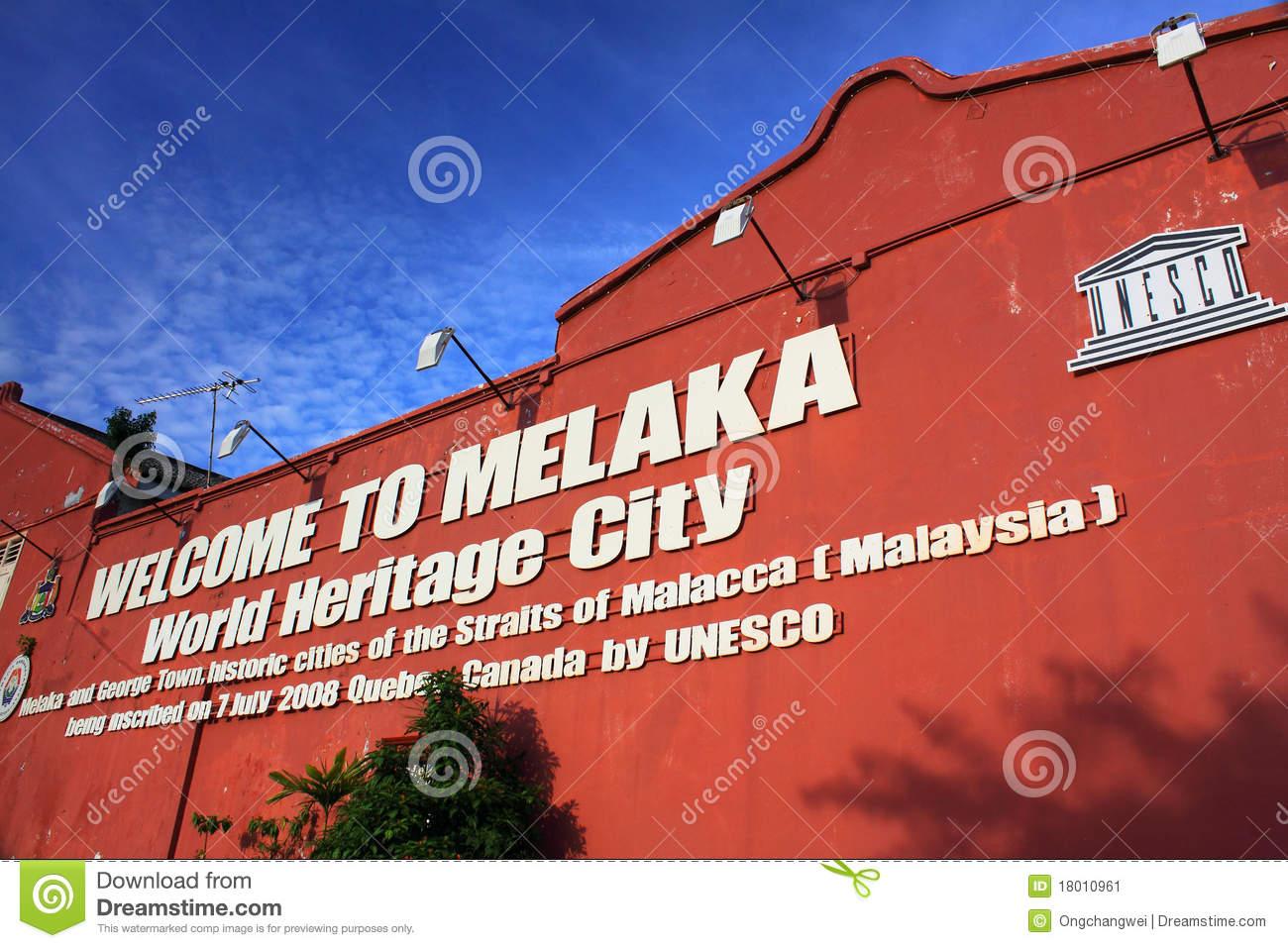 Welcome To Melaka World Heritage City Stock Image.