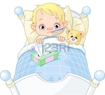 grippe: Illustration de bande dessinée de garçon malade.
