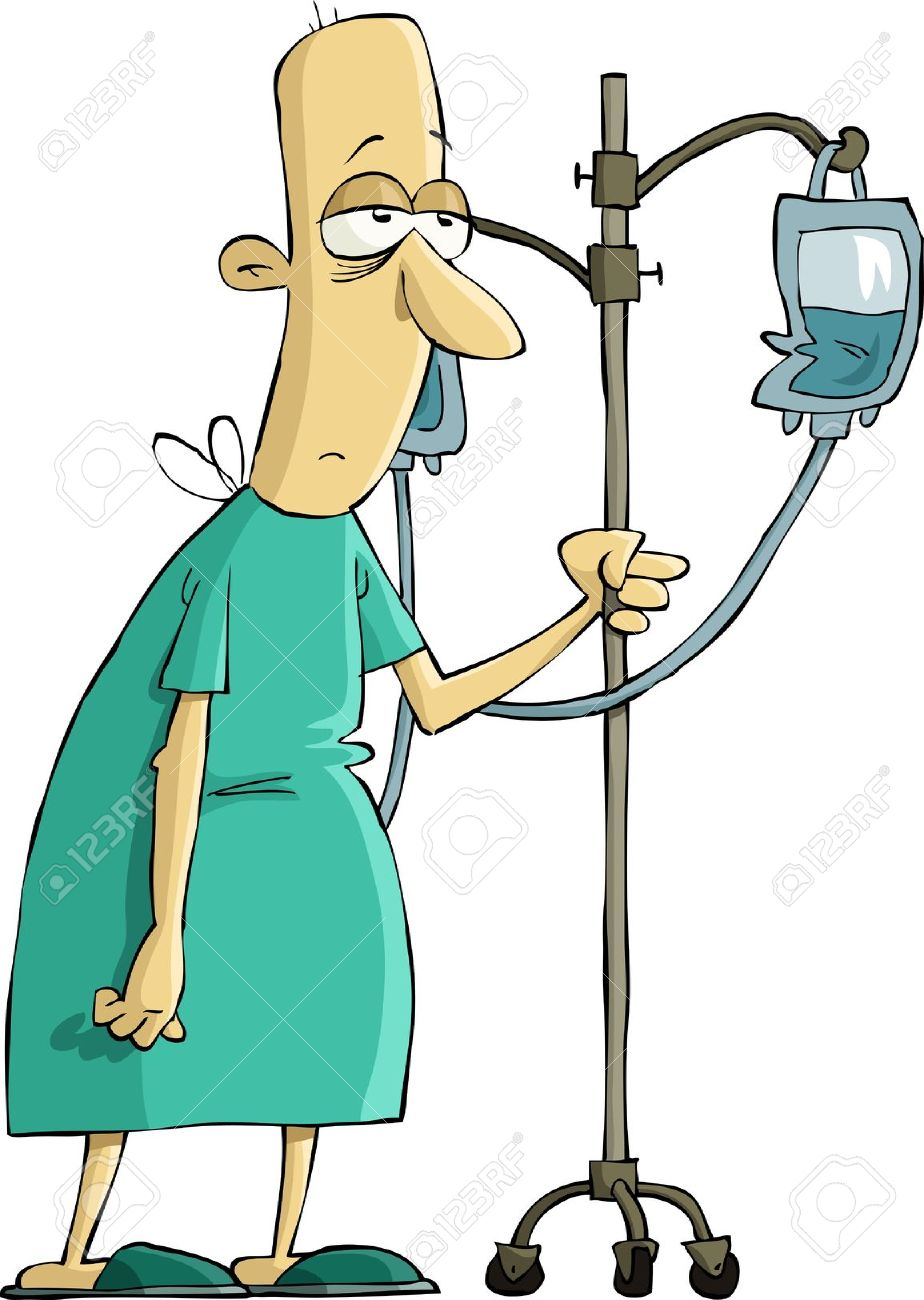 Sick in hospital clipart.