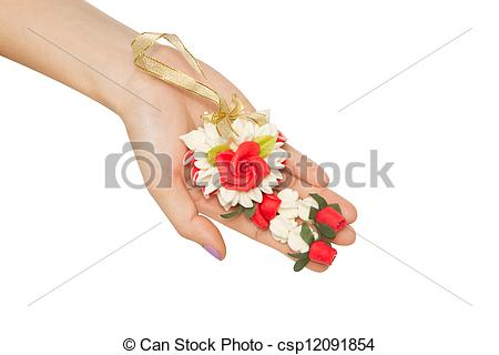 Stock Images of woman give a Malai The flower in Thai Tradition.