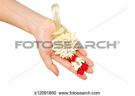 Stock Photography of woman give a Malai The flower in Th k12091850.