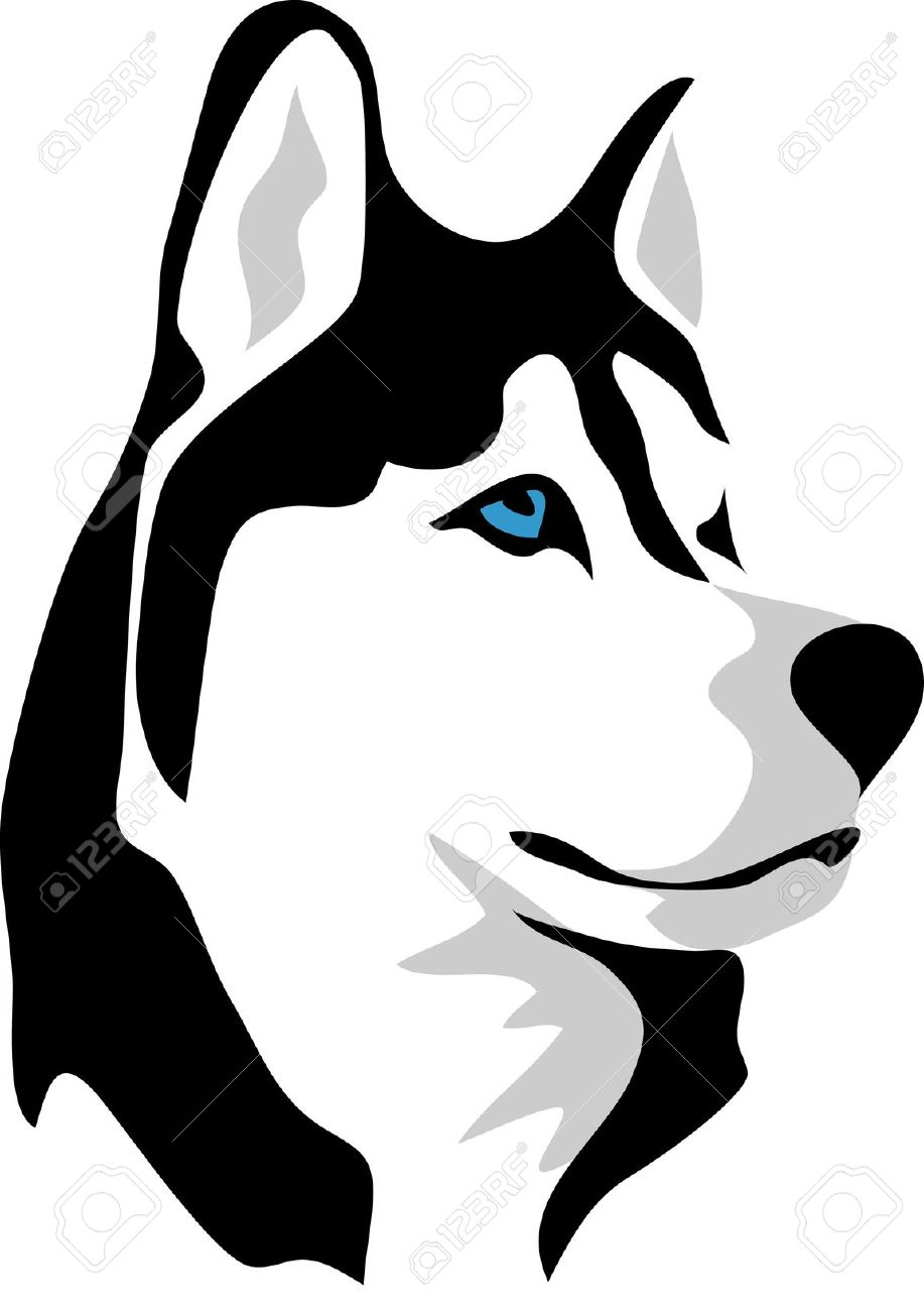 Free to use black & white malamute dog clipart.