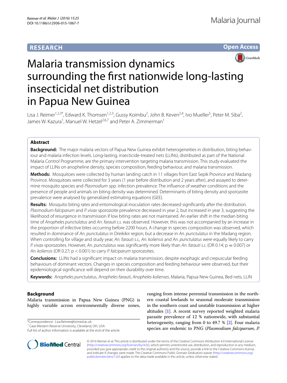 Malaria transmission dynamics surrounding the first.