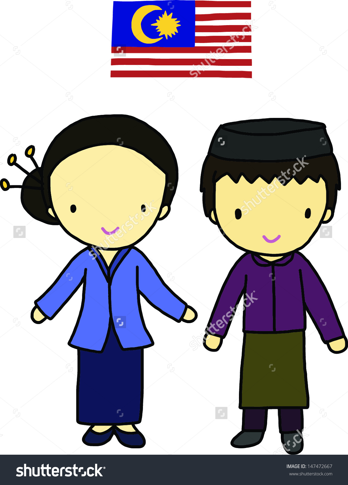 Malay people clipart.