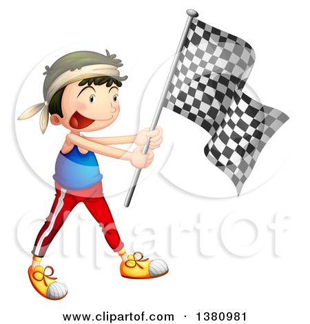 Cartoon of a Beautiful Woman Waving a Malaysian Flag.
