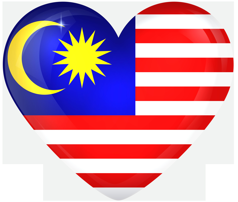 Malaysia Large Heart Flag.