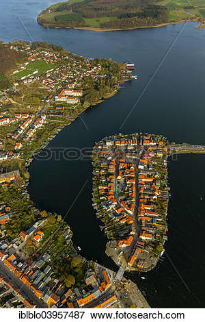 "Picture of ""Aerial view, old town island with Lake Malchow."