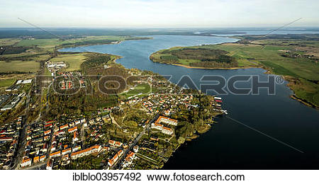 "Stock Photo of ""Aerial view, Malchow, Mecklenburg."