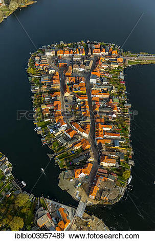 "Stock Photograph of ""Aerial view, old town island with Lake."
