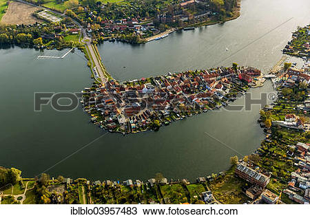 "Stock Photo of ""Aerial view, old town island with Lake Malchow."