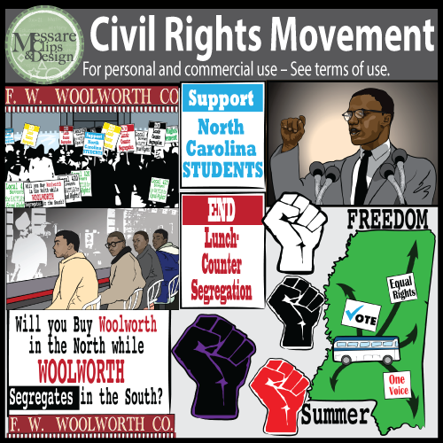 Civil Rights Movement Clip Art with MLK Jr, Malcolm X {Messare.