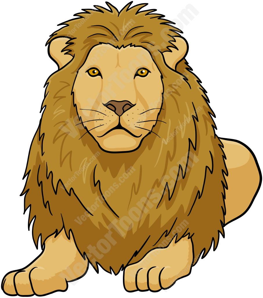 Male Lion Lying Down Cartoon Clipart.