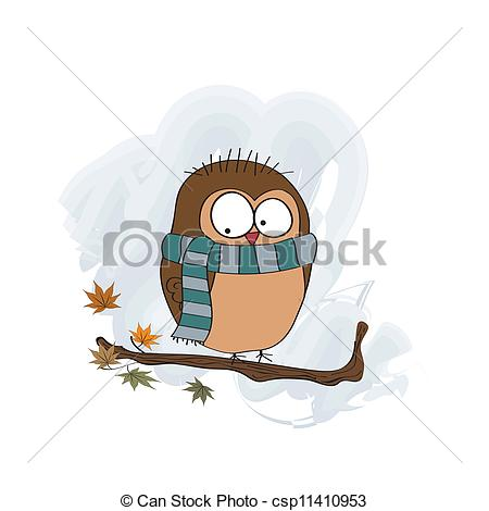 Clipart Vector of funny male bird with scarf csp11410953.