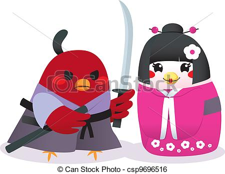 Clip Art Vector of Traditional Japanese Birds.
