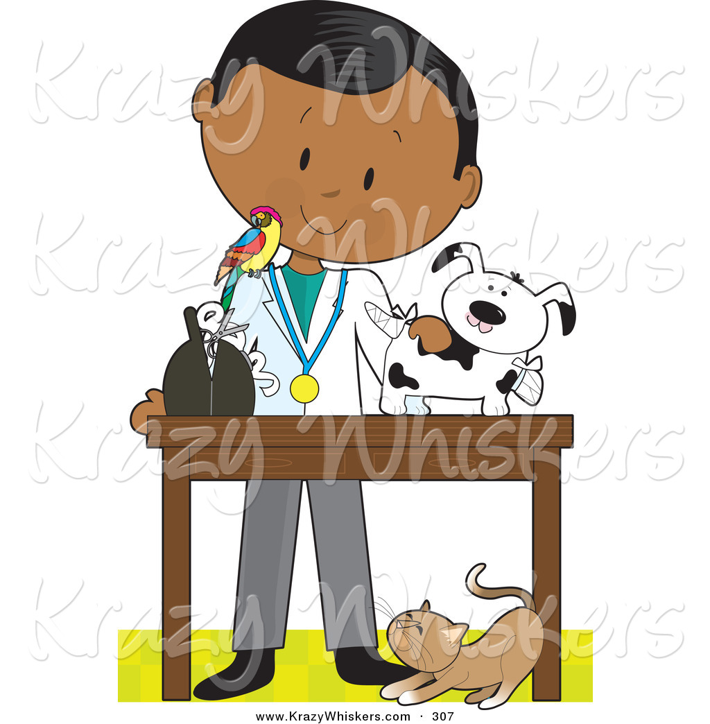 Critter Clipart of an African American Male Veterinarian with a.