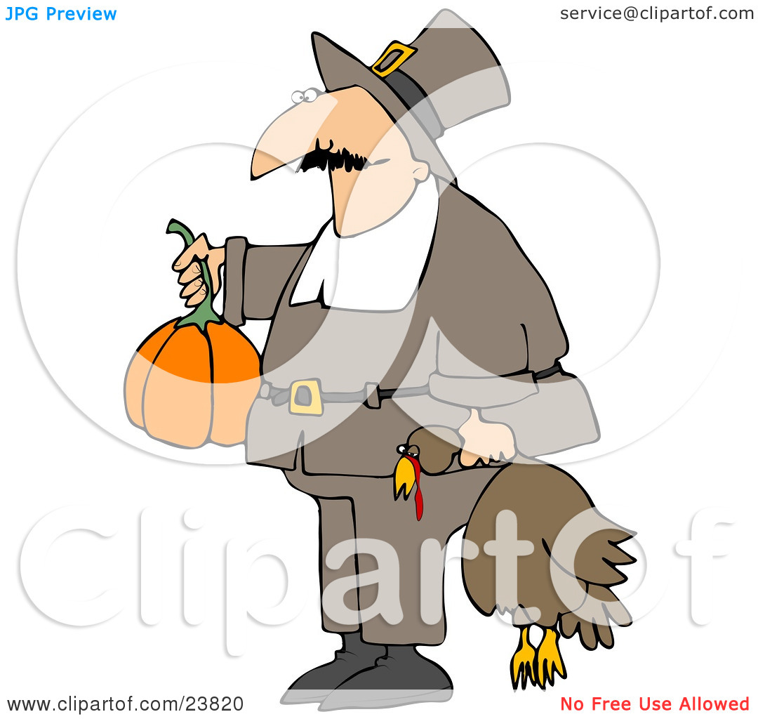 Clipart Illustration of a Male Pilgrim In Brown, Carrying A.