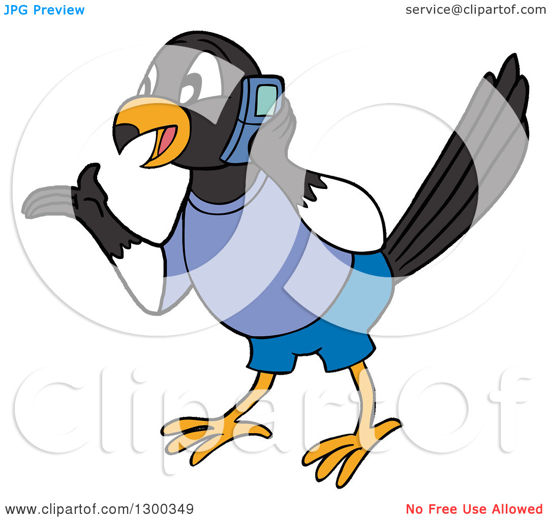 Clipart of a Talkative Male Magpie Bird Wearing Blue, Gesutring.