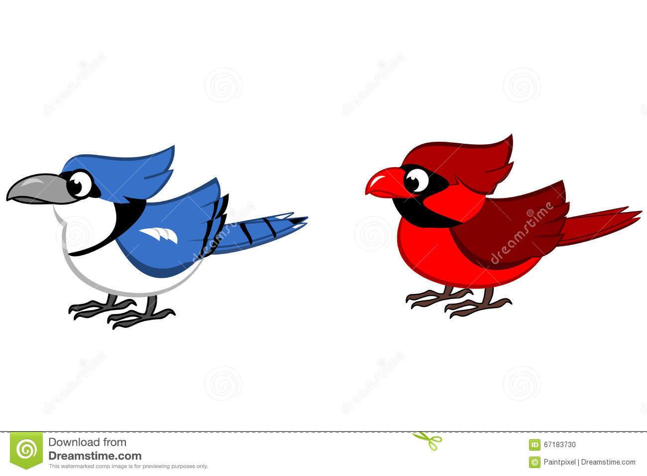 Blue Jay And Northern Cardinal Cartoon Stock Vector.