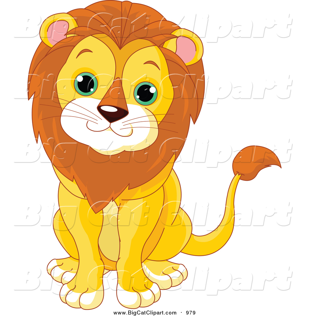 Big Cat Cartoon Vector Clipart of a Cute Baby Male Lion Sitting by.