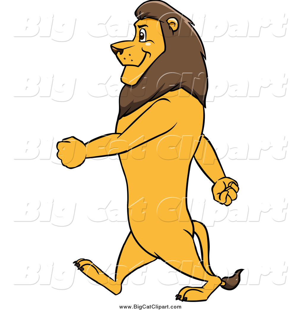 Big Cat Cartoon Vector Clipart of a Male Lion Walking Upright in.
