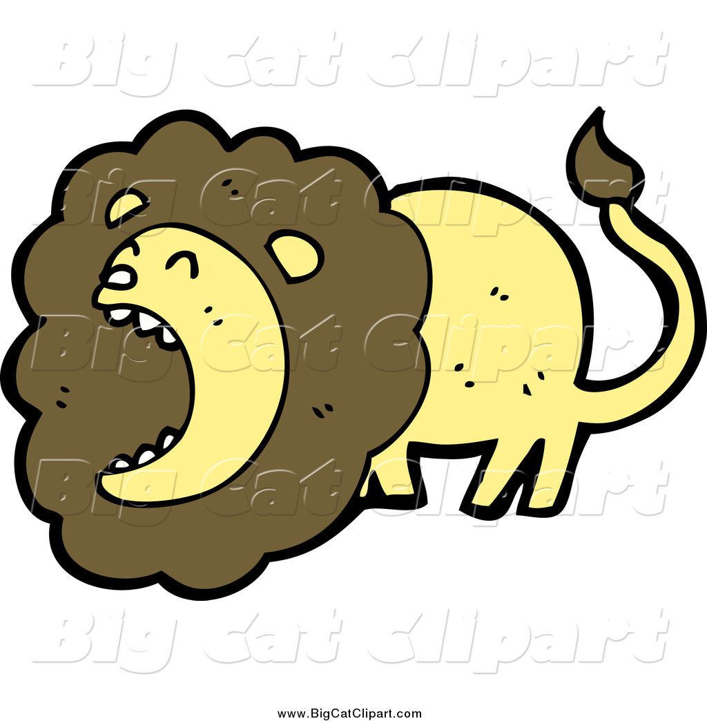 Big Cat Cartoon Vector Clipart of a Roaring Brown and Yellow Male.