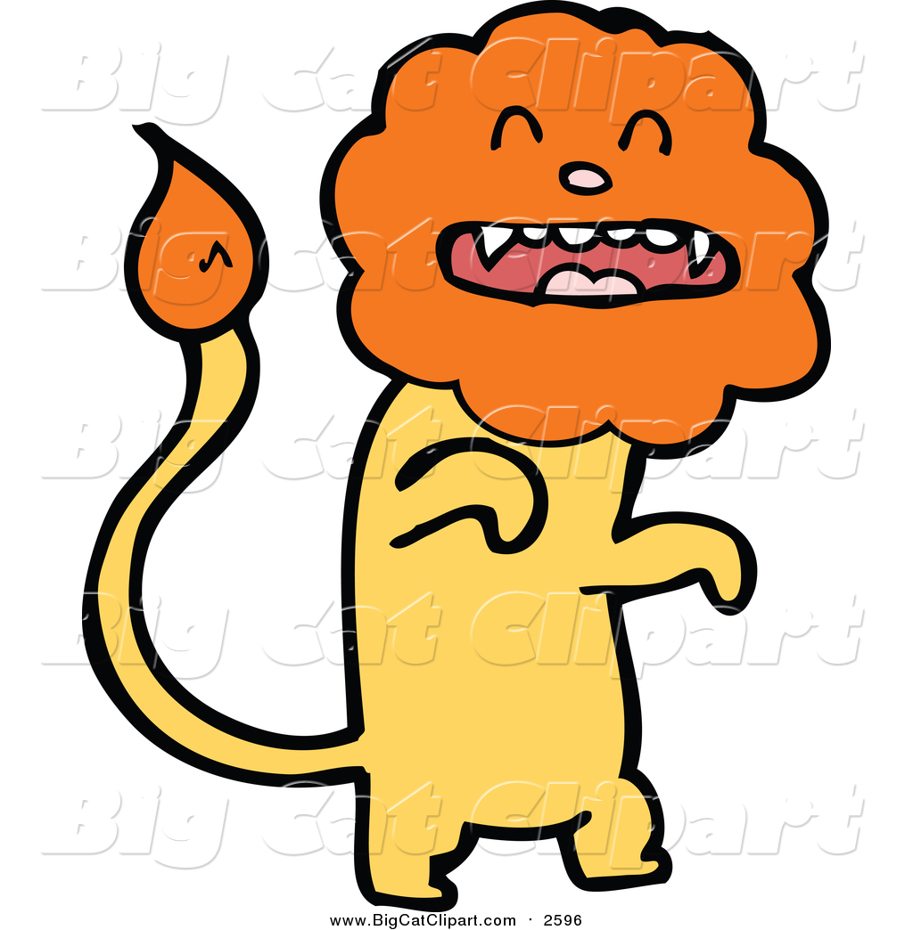Big Cat Cartoon Vector Clipart of a Yellow Male Lion with an.