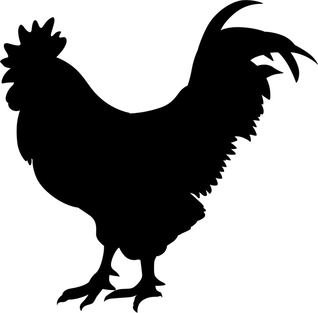 Male Chicken Clipart Image: Black and white cartoon silhouette of.