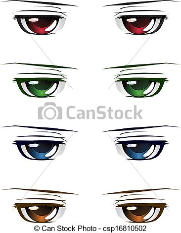 Vector Clipart of Colorful male eyes.