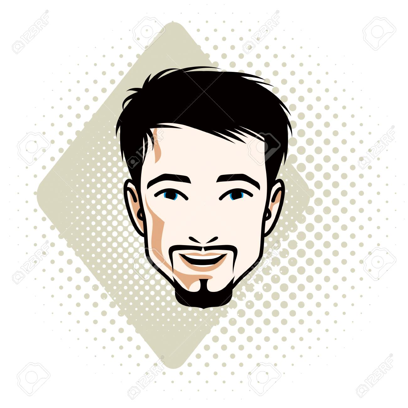Vector illustration of handsome brunet male face with mustache...