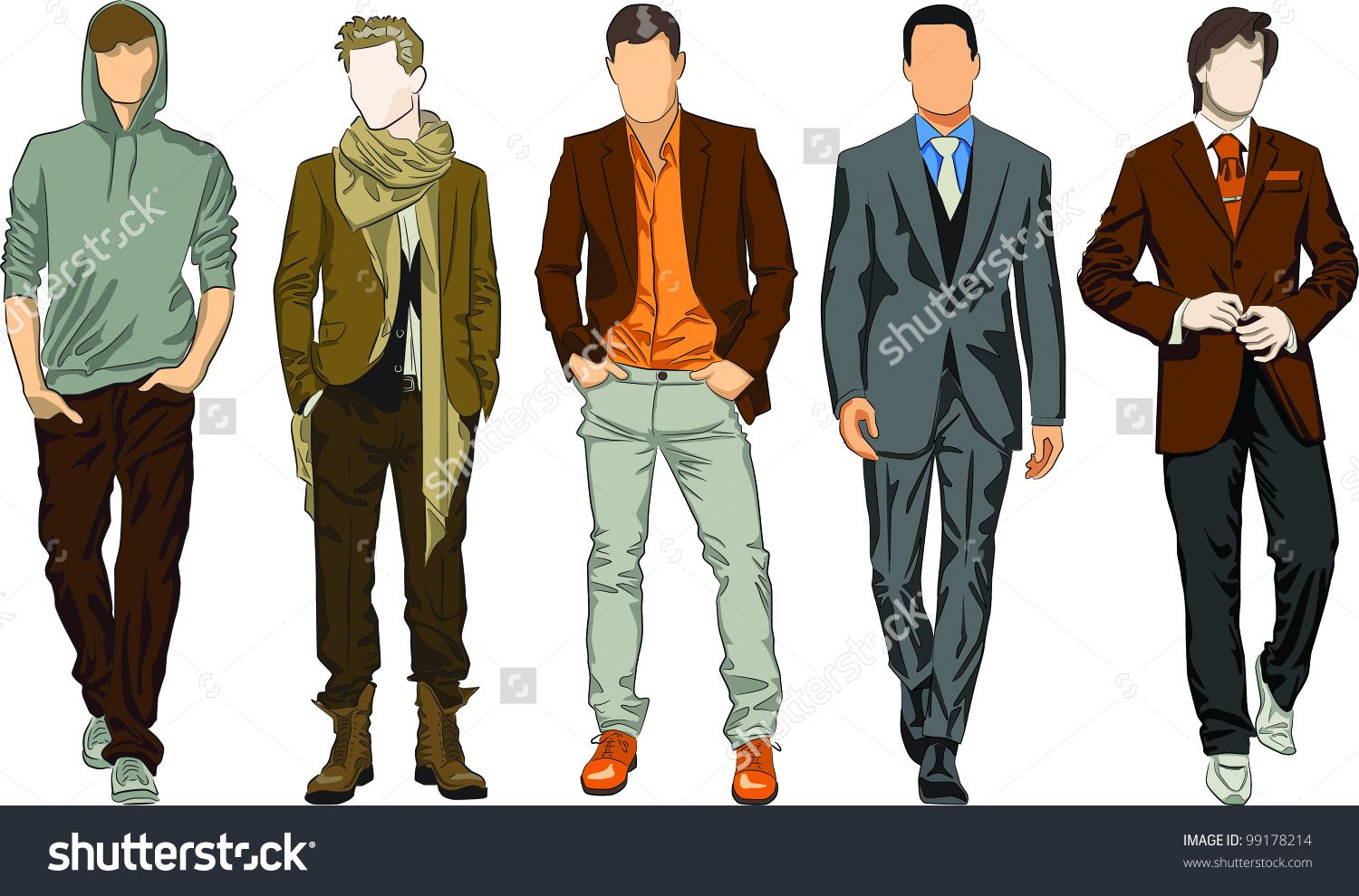 men's clothing descriptions clipart.